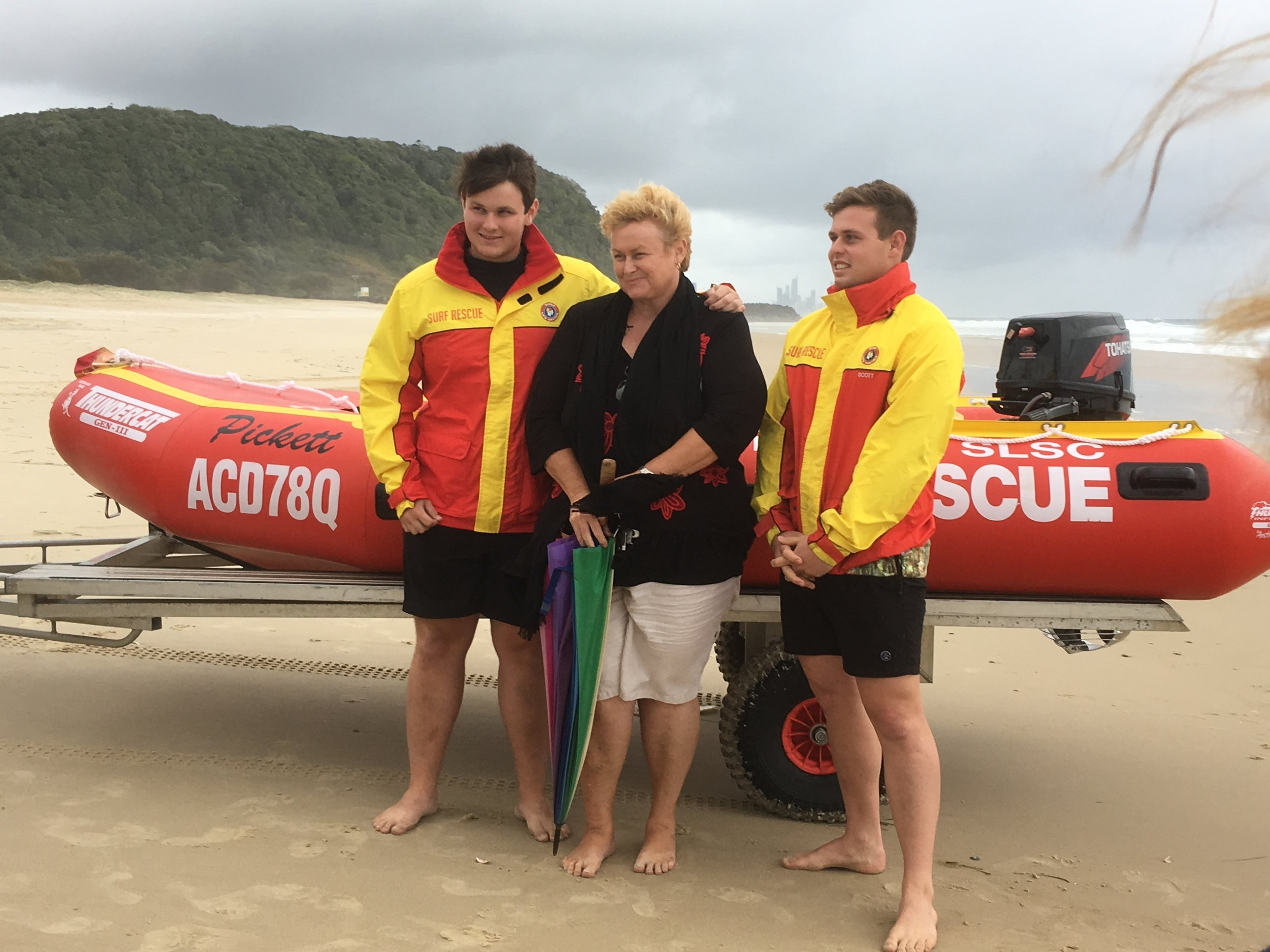 The launch of Tallebudgera's new IRB in honour of Steve Pickett.  left to right Jared, Patria and Connor Pickett.