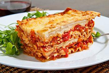 Lasagna - $35 - (8 servings)Nutrition per servingCalories 340Fat 6gCarbs 36gProtein 36g