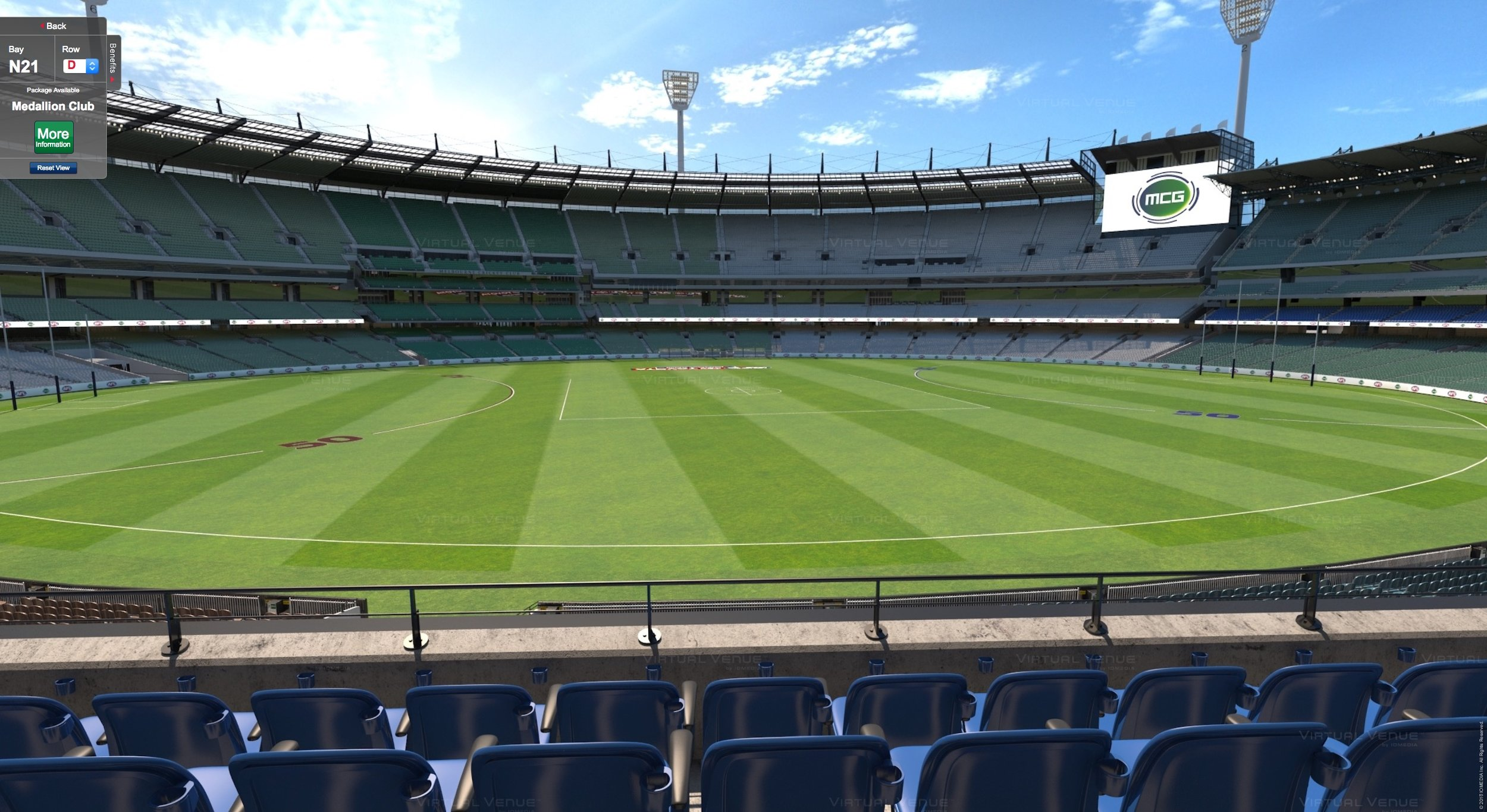 Melbourne v Collingwood MCG Medallion Club seating