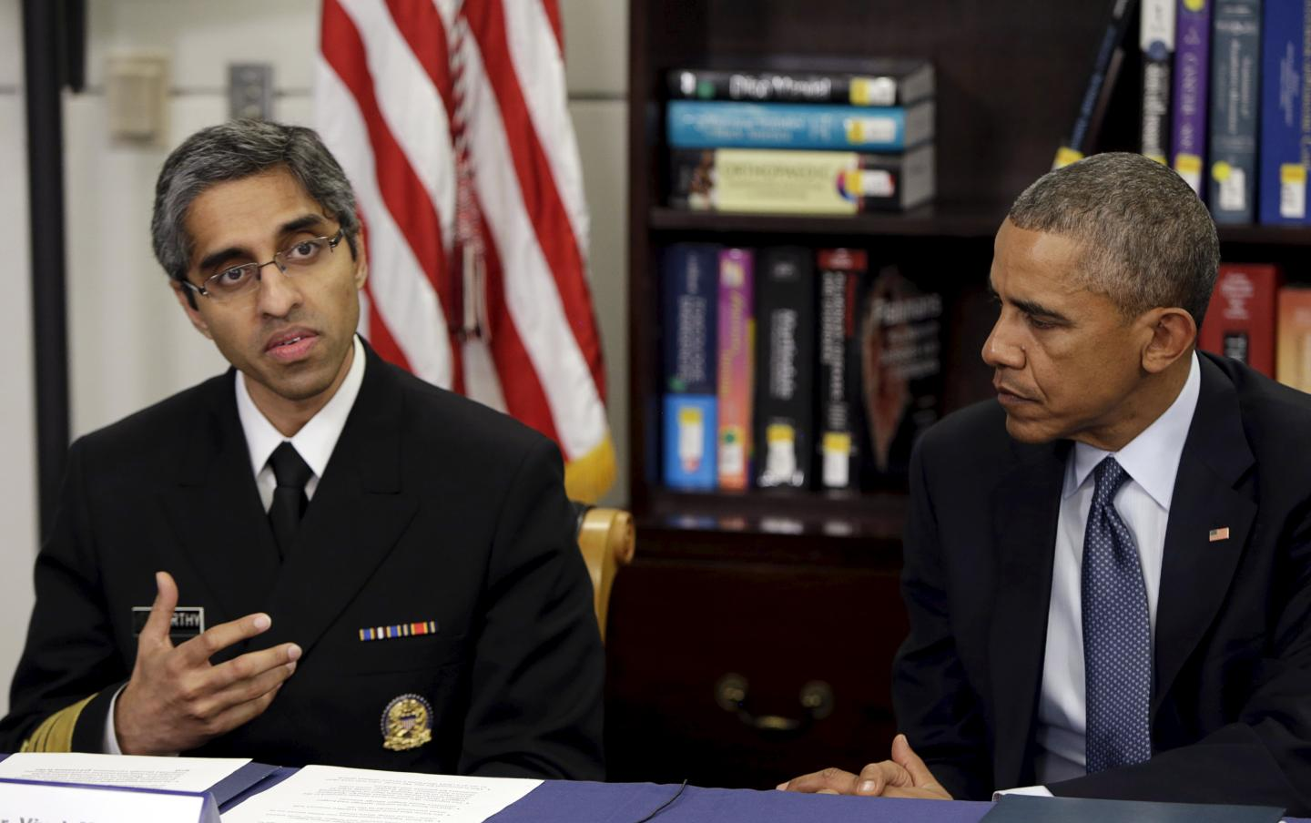 Then-President Barack Obama participates in a roundtable discussion with Dr. Vivek Murthy, the former U.S. surgeon general, on how climate change affects public health, at Howard University in Washington, D.C, on April 7, 2015. President Donald Trump on Friday requested Murthy's resignation.GARY CAMERON/REUTERS