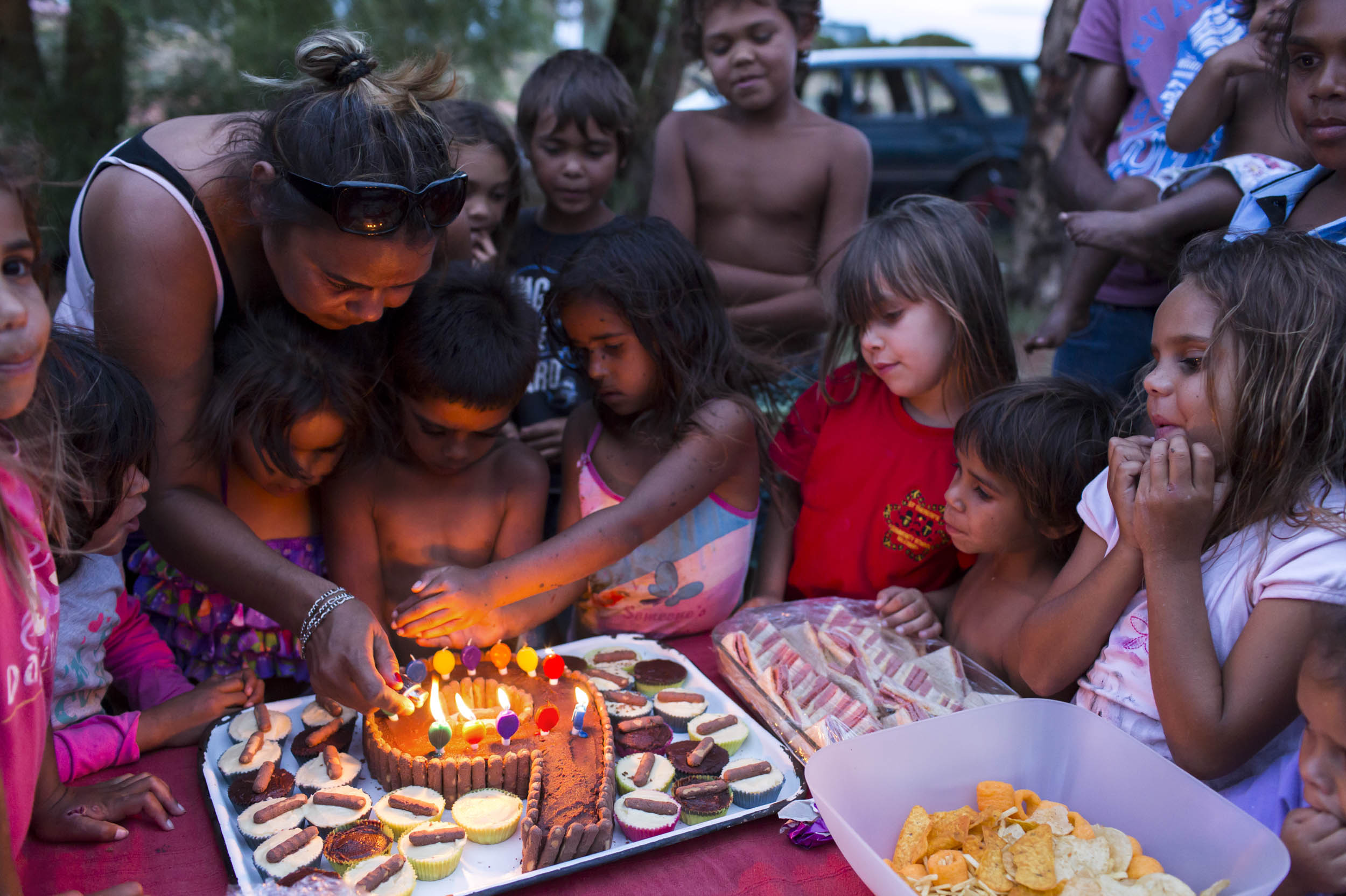 A shared birthday party for two children in Wilcannia, NSW.
