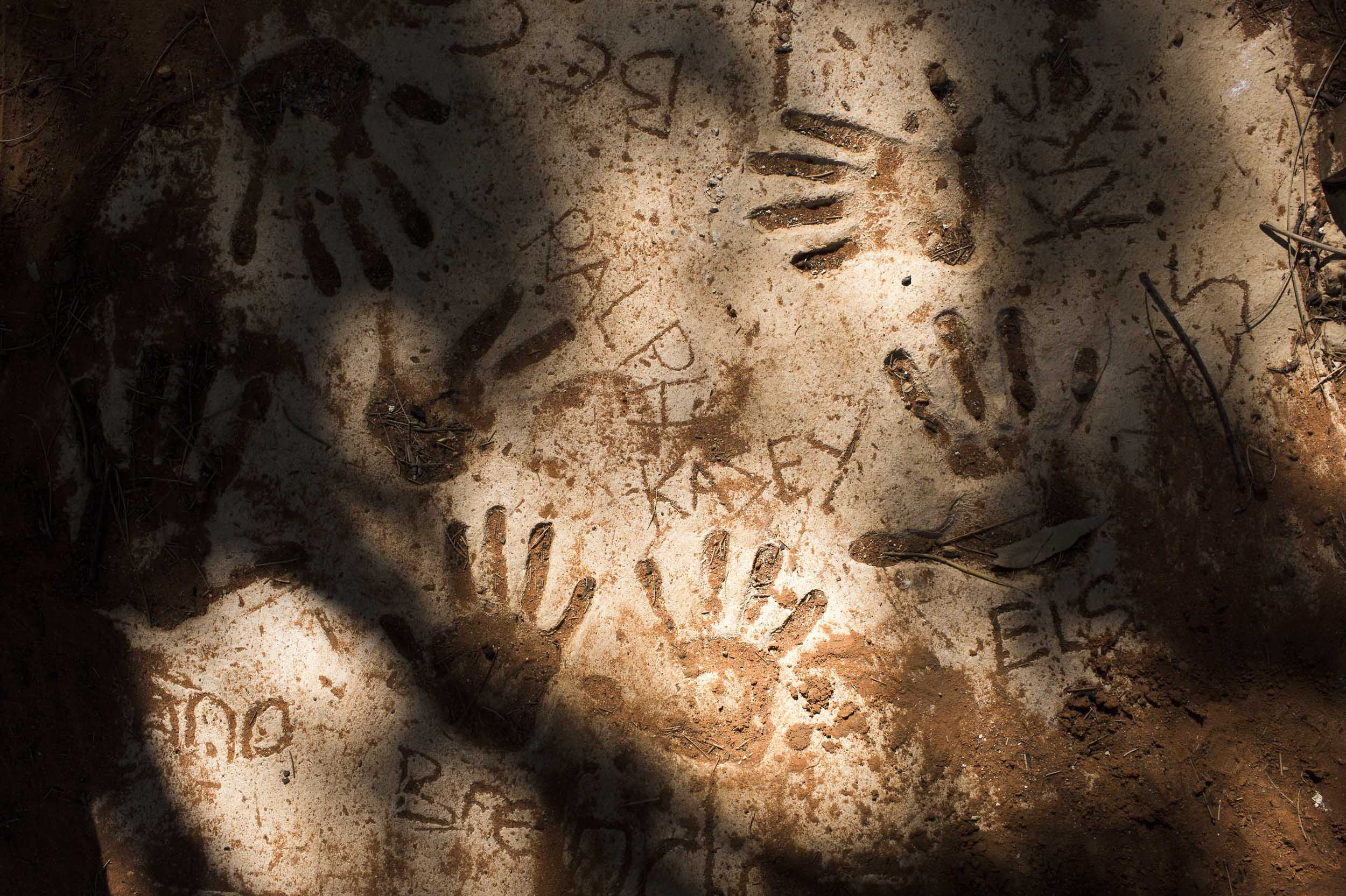 An Aboriginal families hand prints immortalized in a concrete at their home in Wilcannia, NSW.