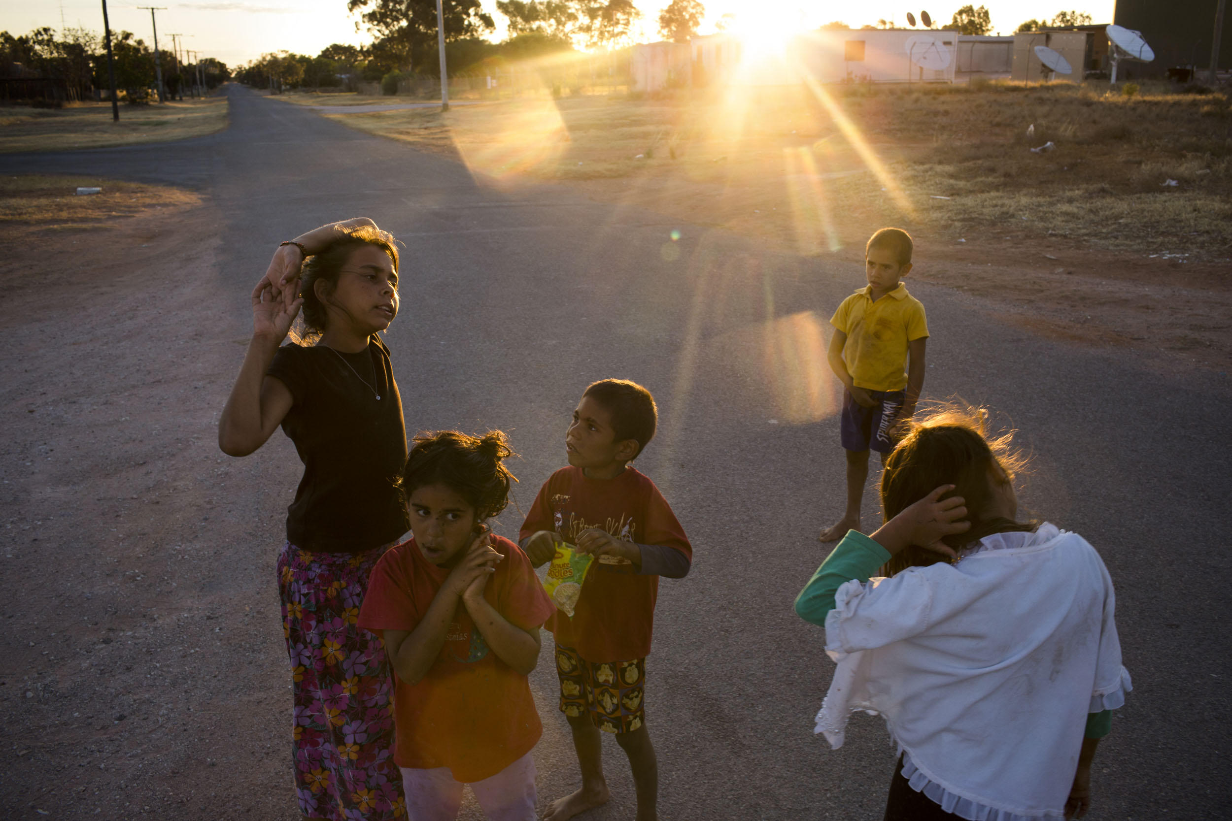 Local Barkindji children at the end of the day in Wilcannia, NSW.