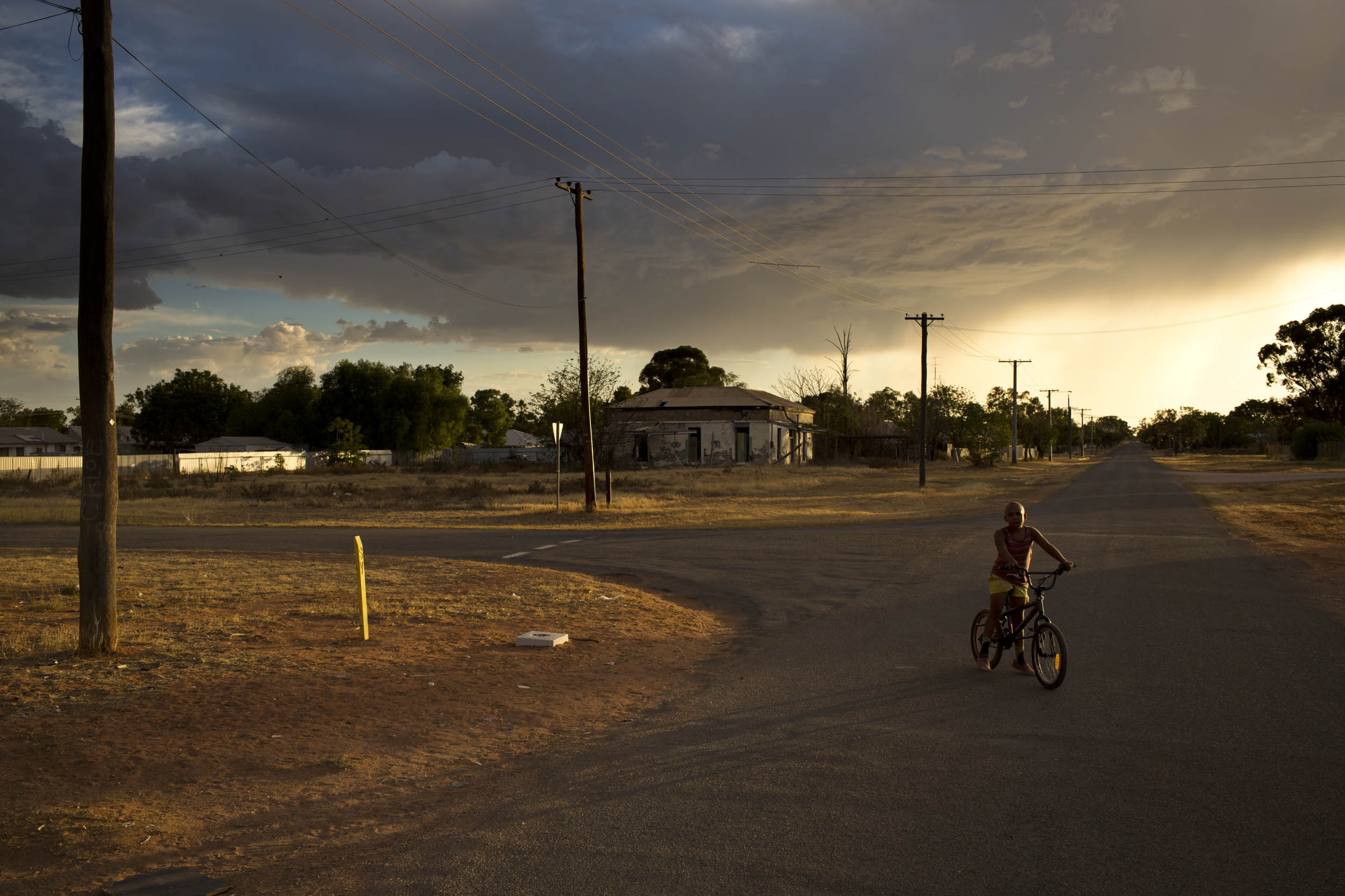 Storm clouds at dusk over Wilcannia.