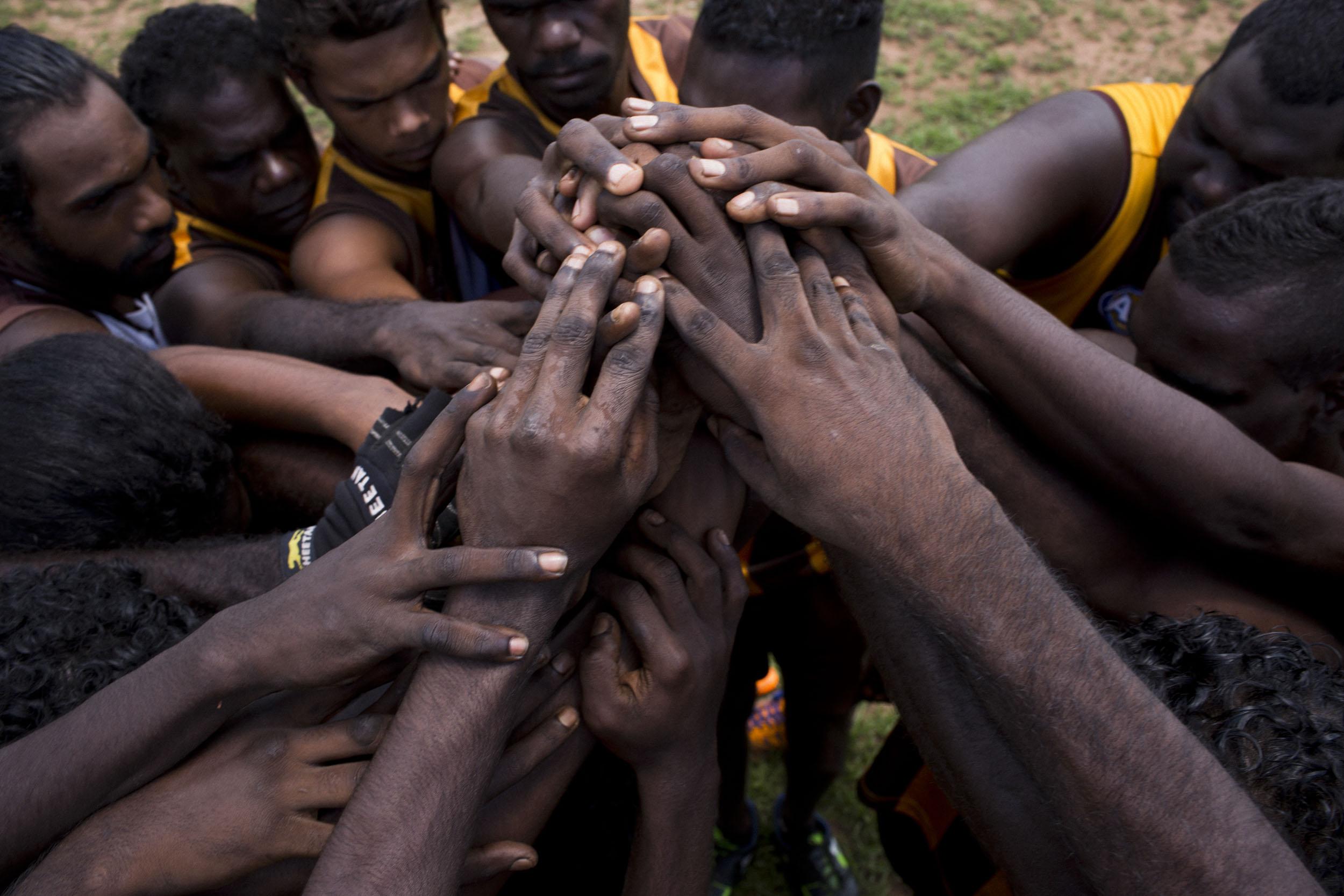 The Tapalinga Superstars Australian Rules Football team on Melville Island, Northern territory.