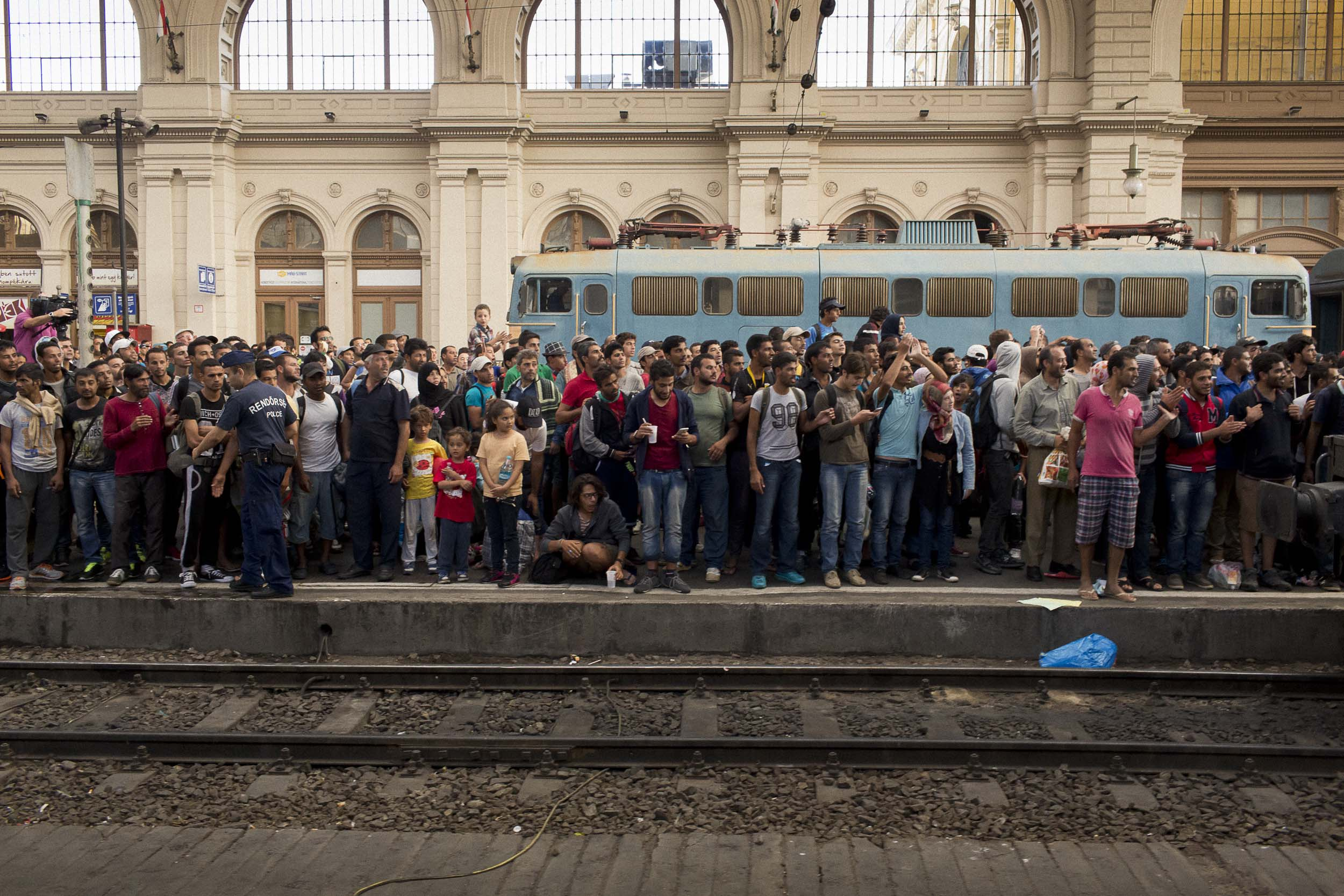 Budapest, Hungary. Refugees crowd a platform at the Keleti train station in Budapest.