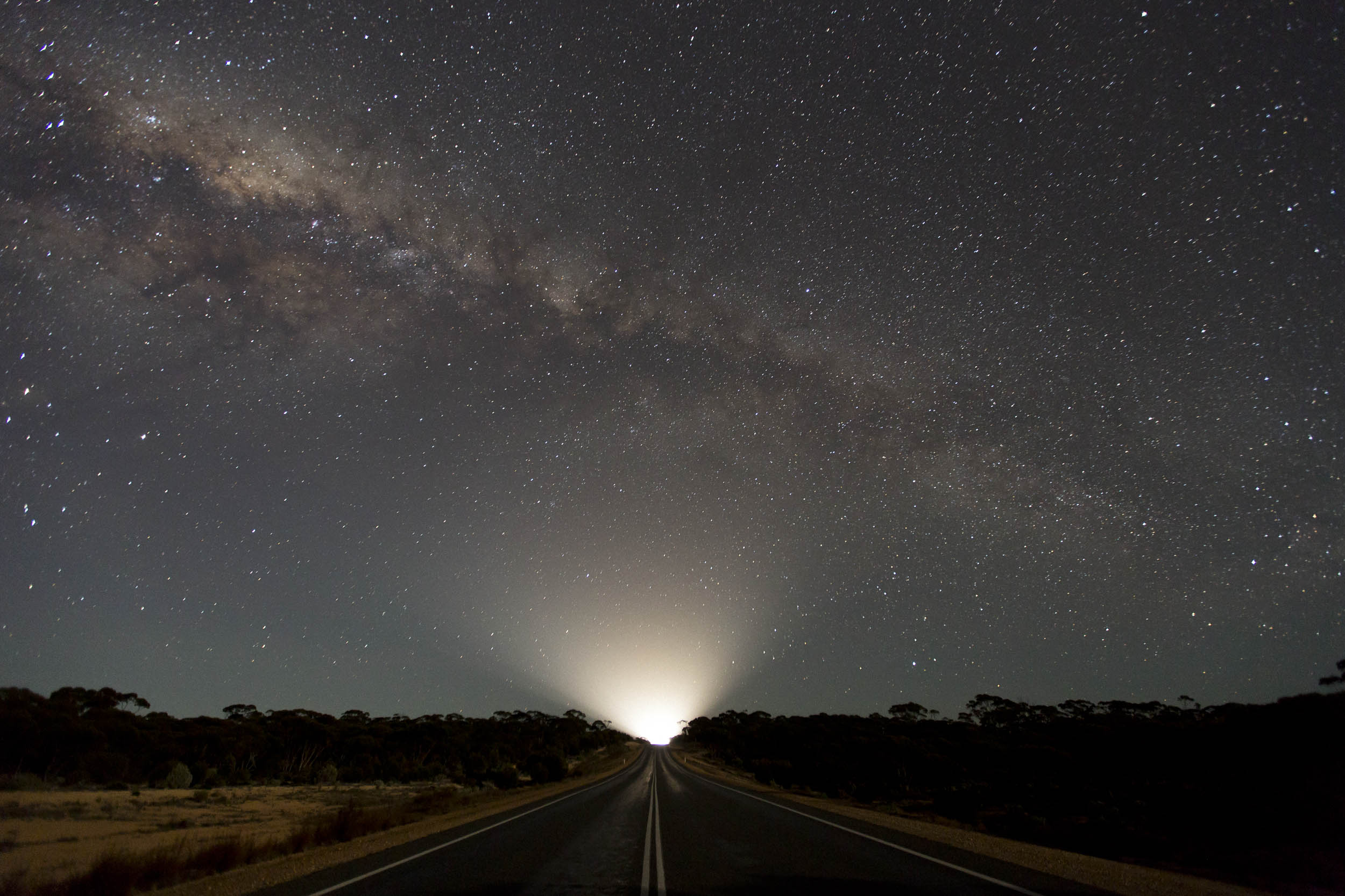 The night sky on the Nullarbor Plain near the Western Australian roadhouse of Balladonia.