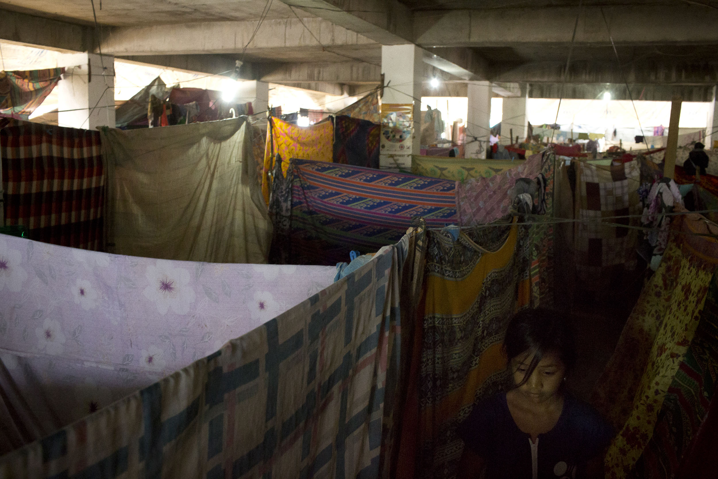 The Saguiran Evacuation Centre for I.D.P.'s (Internally Displaced Peoples) left homeless by the fighting in Marawi. 87 families have taken up residence in what was a community market approximately the size of a basketball court.