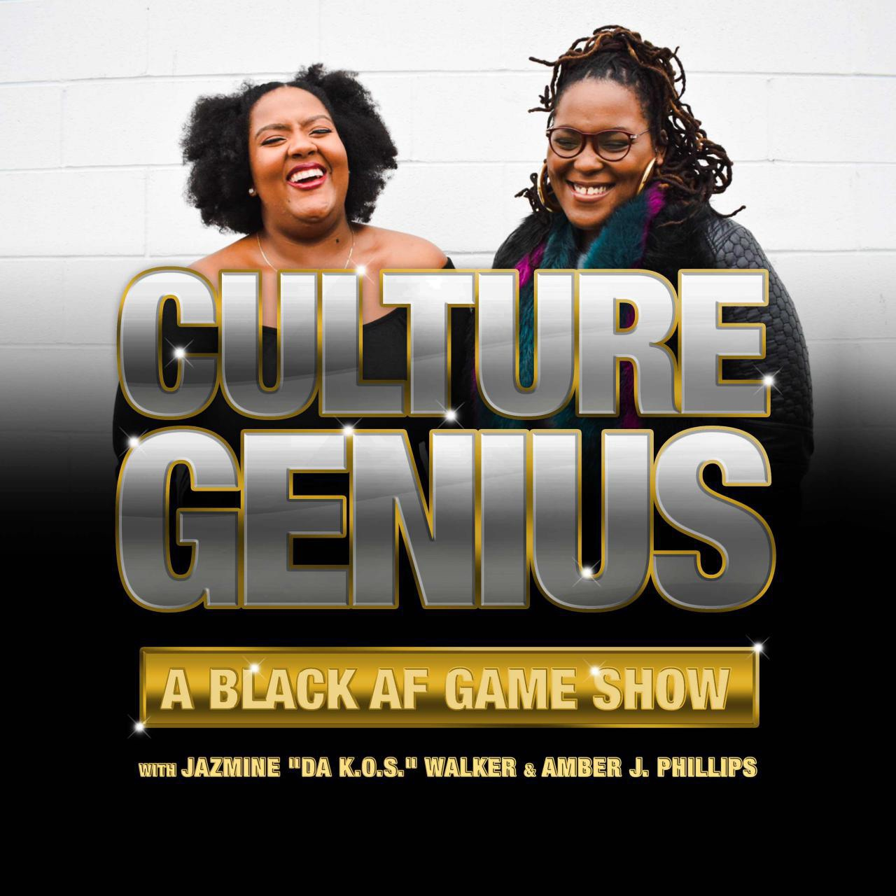 """Culture Genius Podcast:A Black AF Gameshow - Presented by Stitcher Premium, Culture Genius is a Black AF trivia game show hosted by the creators of the Black Joy Mixtape Podcast, Amber J. Phillips, The High Priestess of Black Joy and Jaz The King of the South. Each week, Amber and Jaz recap some of the most iconic moments in Black Culture while quizzing contestants who are some of the best, brightest, and hilarious talents in media, art, and culture. Running through trivia categories like """"Black in The Day"""", """"The Price is A'ight"""" and """"Buss A Rhyme"""", every show is a celebration of Black excellence from the past, present, and the future! Listen as contestants go hard to earn respect and the esteemed title, Culture Genius! Do it for the culture, and play along! Who knows, you may be a Culture Genius too!"""