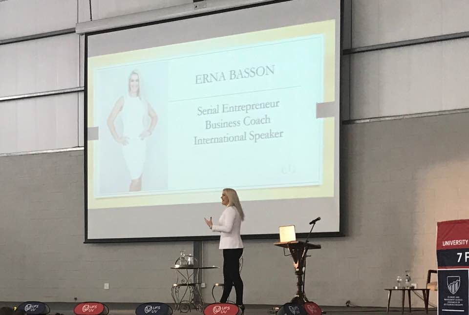 Erna Basson speaking on stage at the Leadership summet in Cape Town