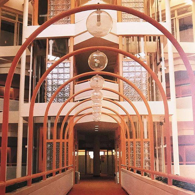 Exhibit A 👆- why a trip to the library trumps research on the internet. . The atrium bridge of the Newfoundland telephone company head office , Canada #1981 . Architects - Shore, Tilbe, Henschel, Irwin, Peters, Sheppard, Burt , Pratt and Short.