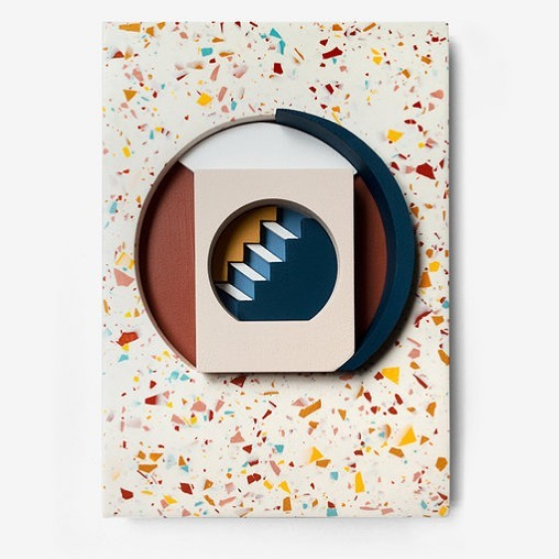 Happy sunshine all! 😎 Here's a piece from my #resortseries last summer 2018 🌴 a collaboration with surface designer extraordinaire @olivia_aspinall . . #emilyforgot #reliefart #assemblageart #terrazzo #architectureinspired