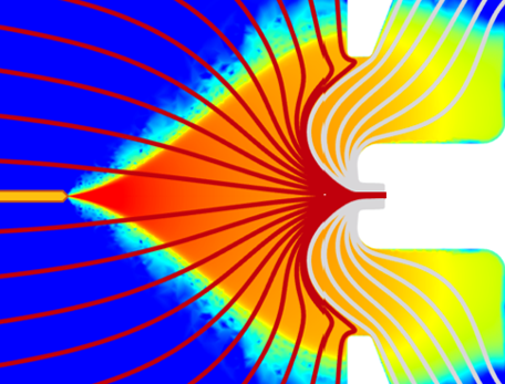 b) FIT's first SESI numerical method, and first electrode-less SESI configuration.