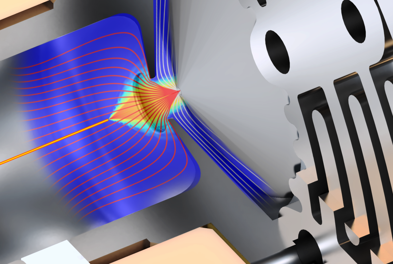 Detail of the SUPER SESI core coupled with a Sciex Instrument. The simulation results are superposed.