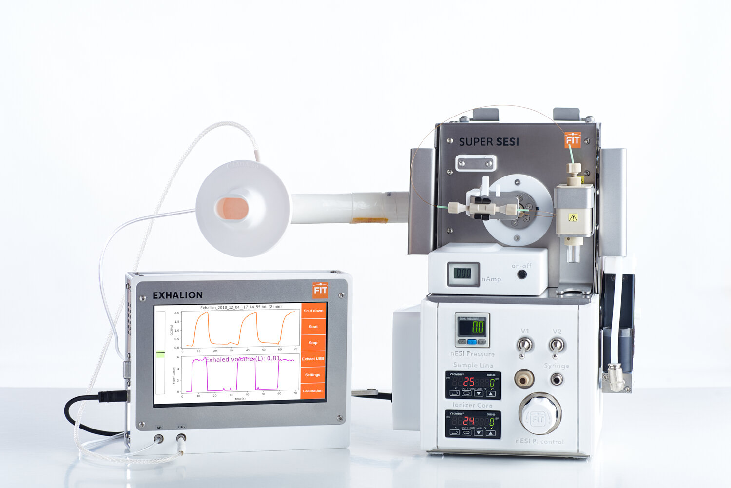 COUPLED TO SUPER SESI-MS - As a SUPER SESI gadget, EXHALION standardizes breath analysis.