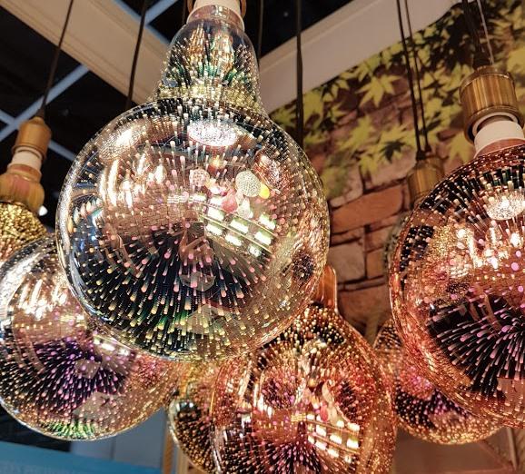 Glittering bulbs of lovely lights -