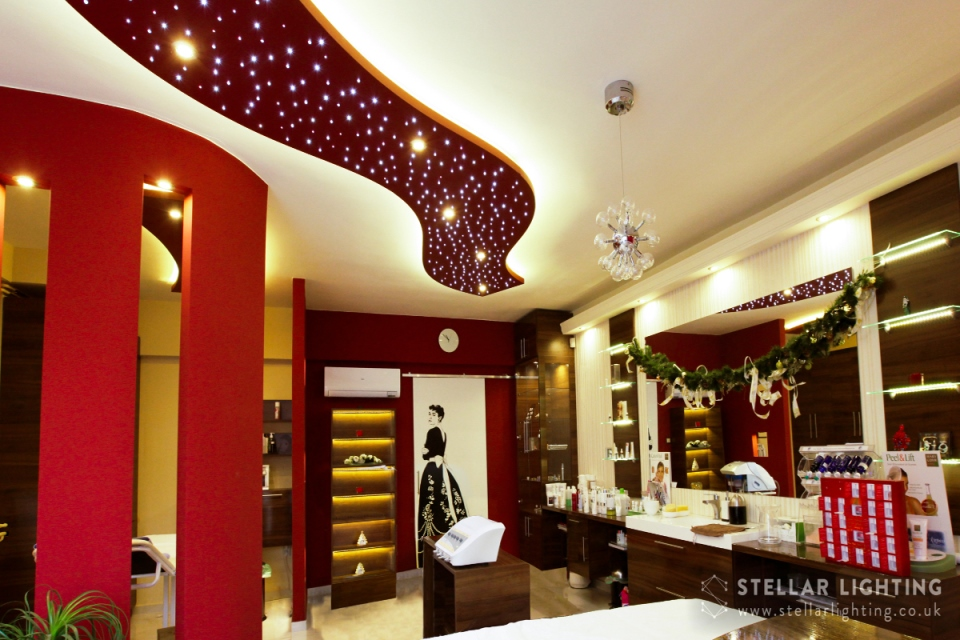 Cosmic Stream starlight ceiling in salon