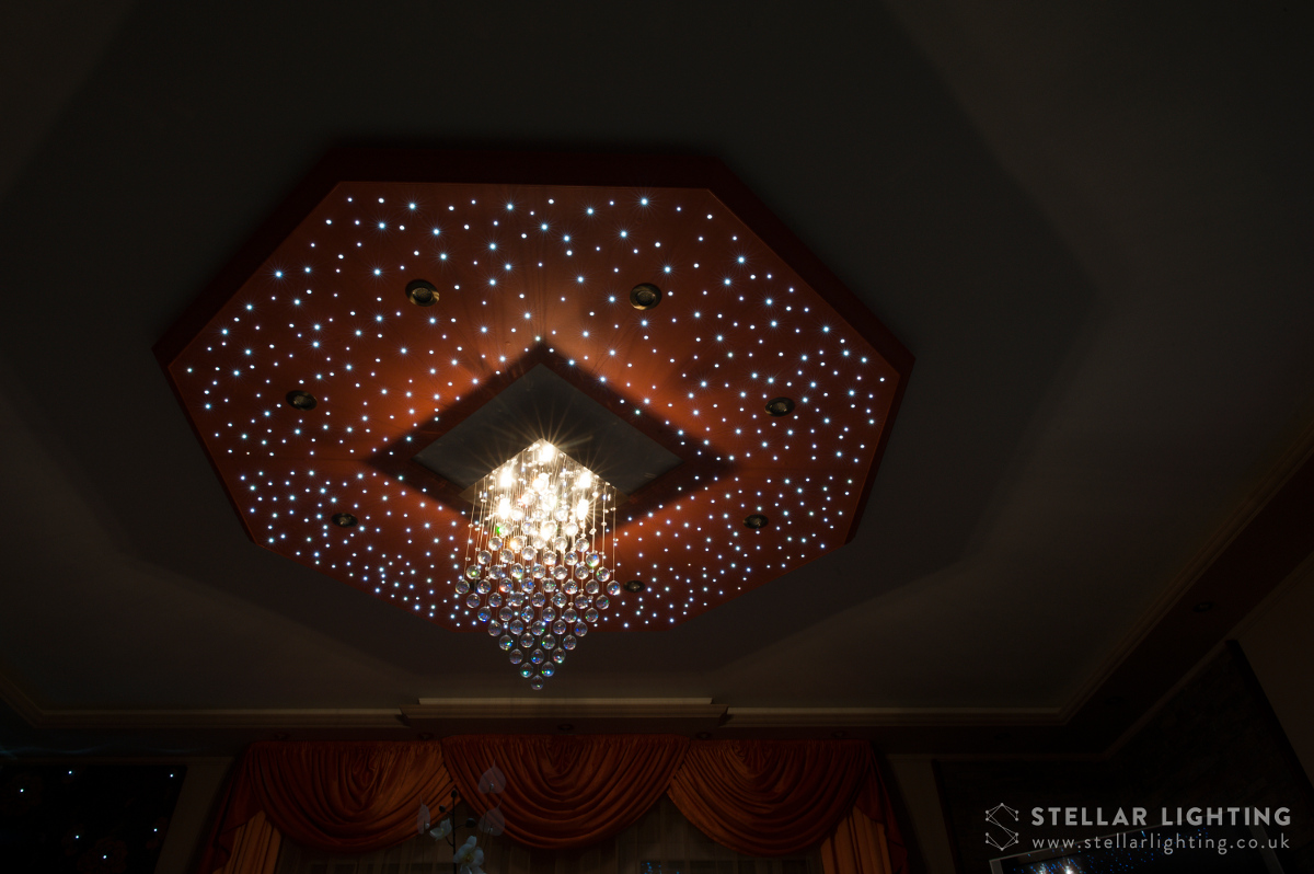 Classical Octagon star ceiling, stars and chandelier lit