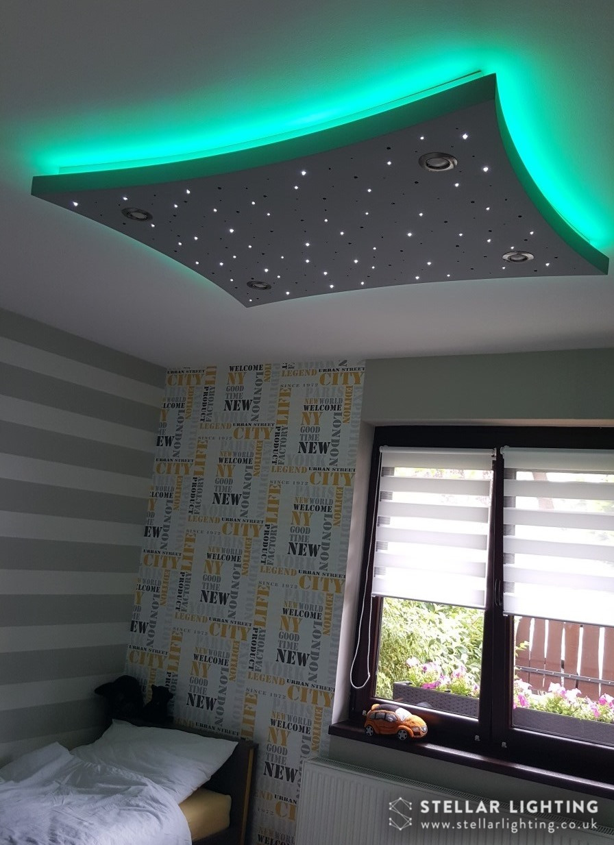 Concave Rectangle starlight ceiling, in bedroom