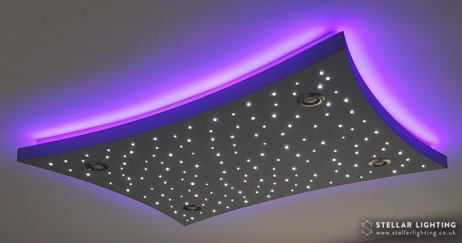 Concave Rectangle starlight ceiling, stars lit, edge set to purple
