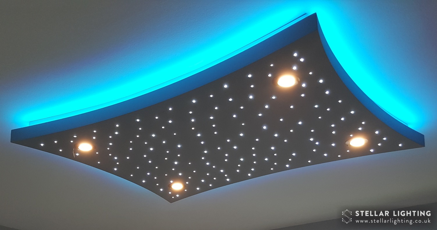 Concave Rectangle starlight ceiling, stars and spotlights lit, edge set to blue