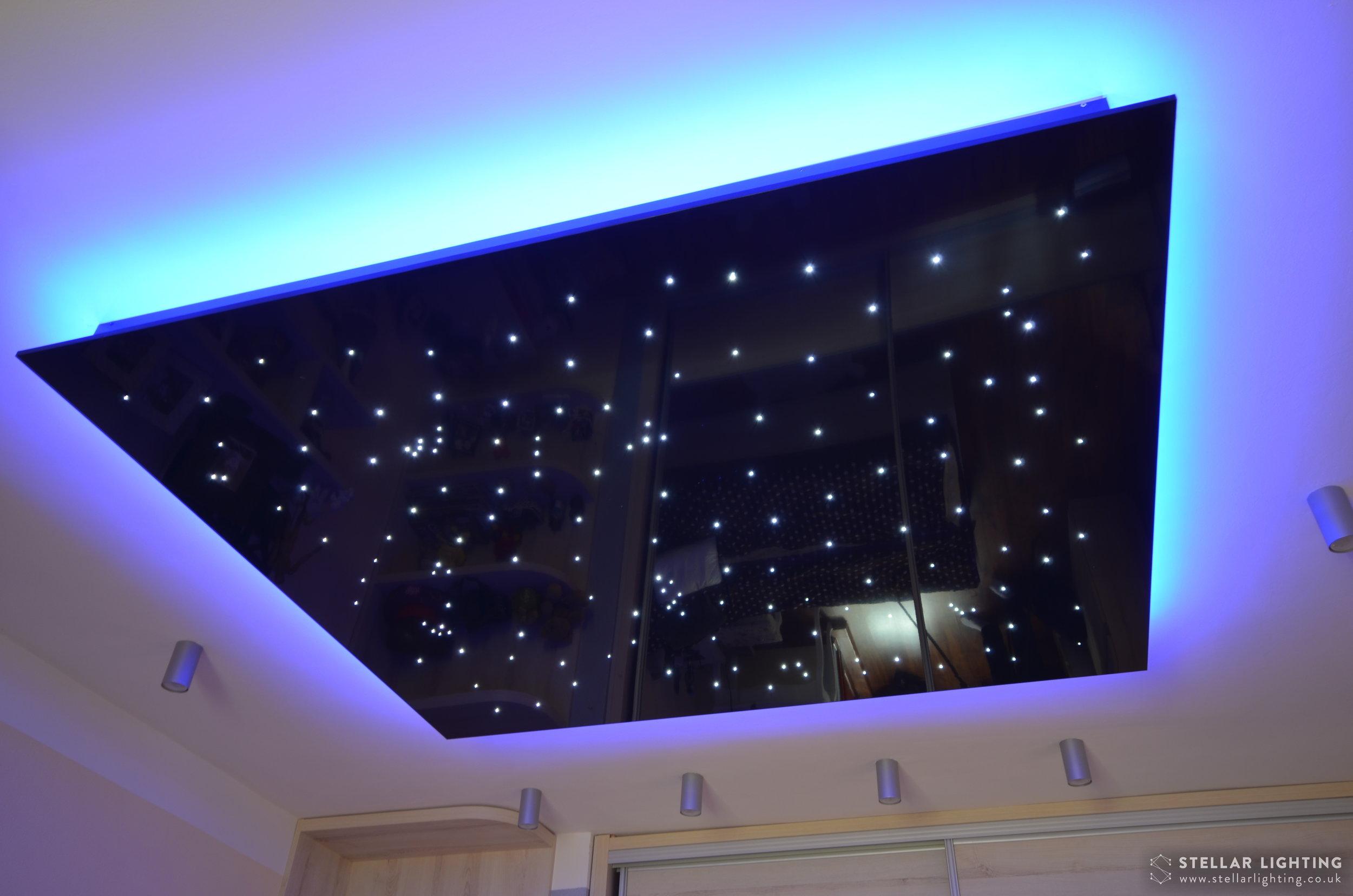 Fibre optic star ceiling with blue edge lighting