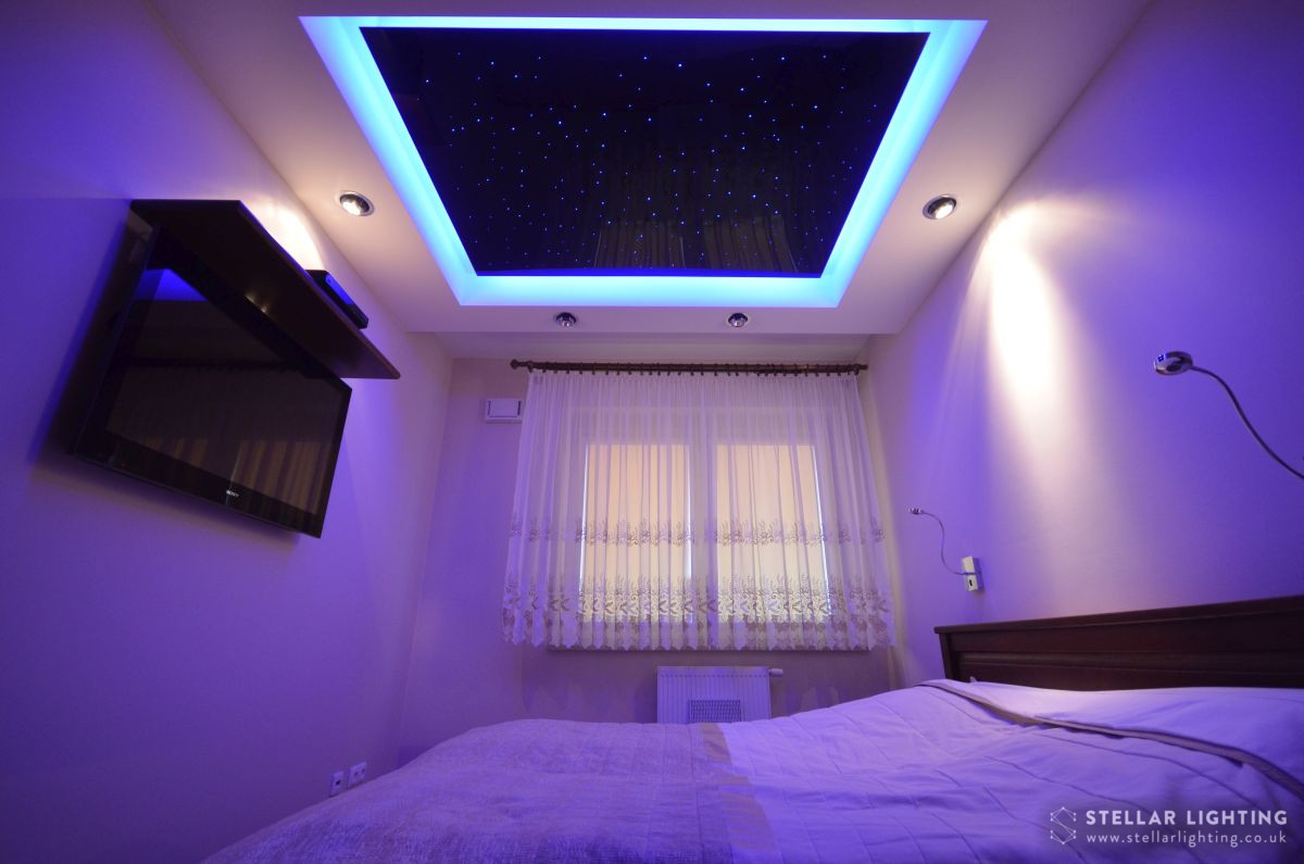 Fibre optic star ceiling for bedroom with blue edge lighting