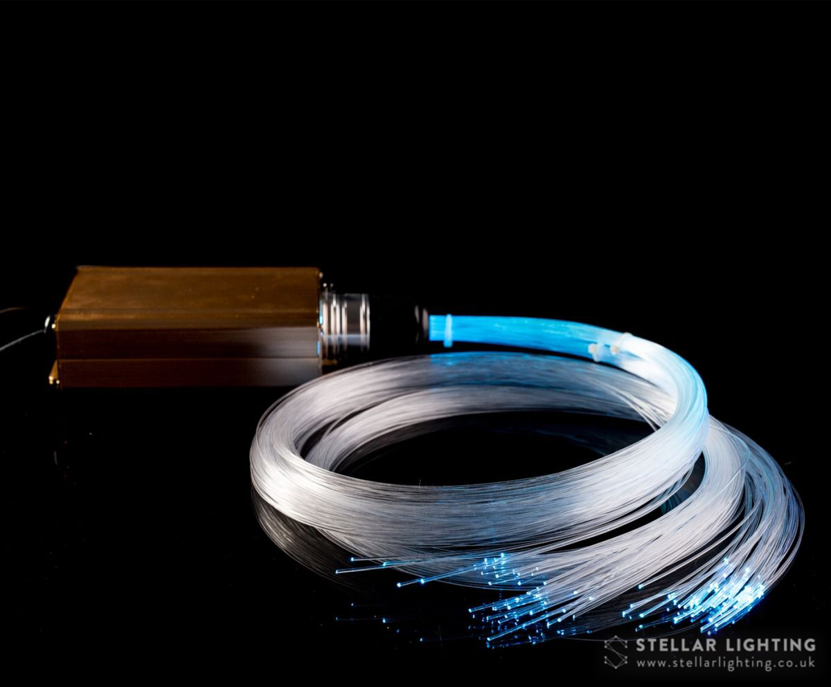 Light engine and fibres for fibre optic star ceiling kit