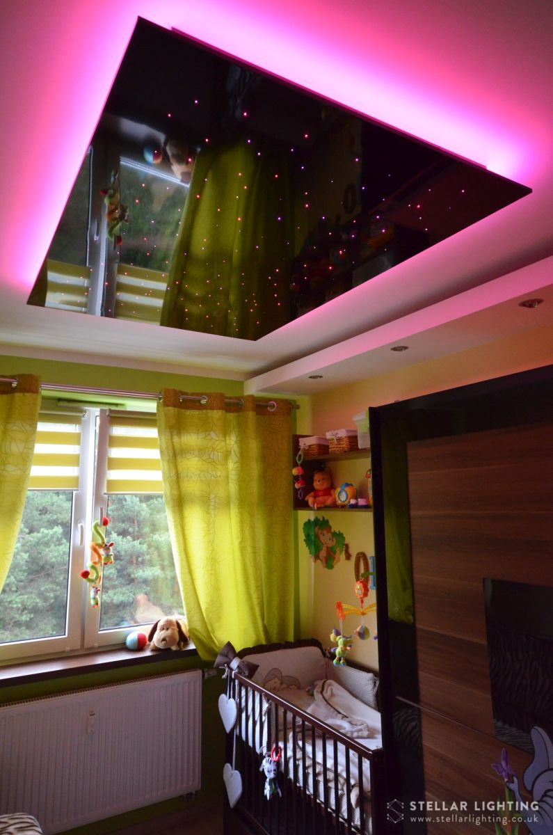 Nursery lighting scheme featuring a star ceiling