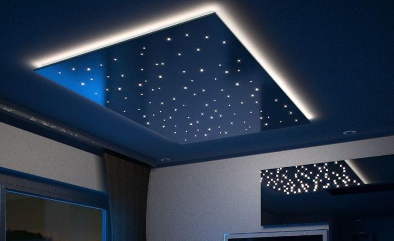 Fibre optic star ceiling for living room with white edge lighting