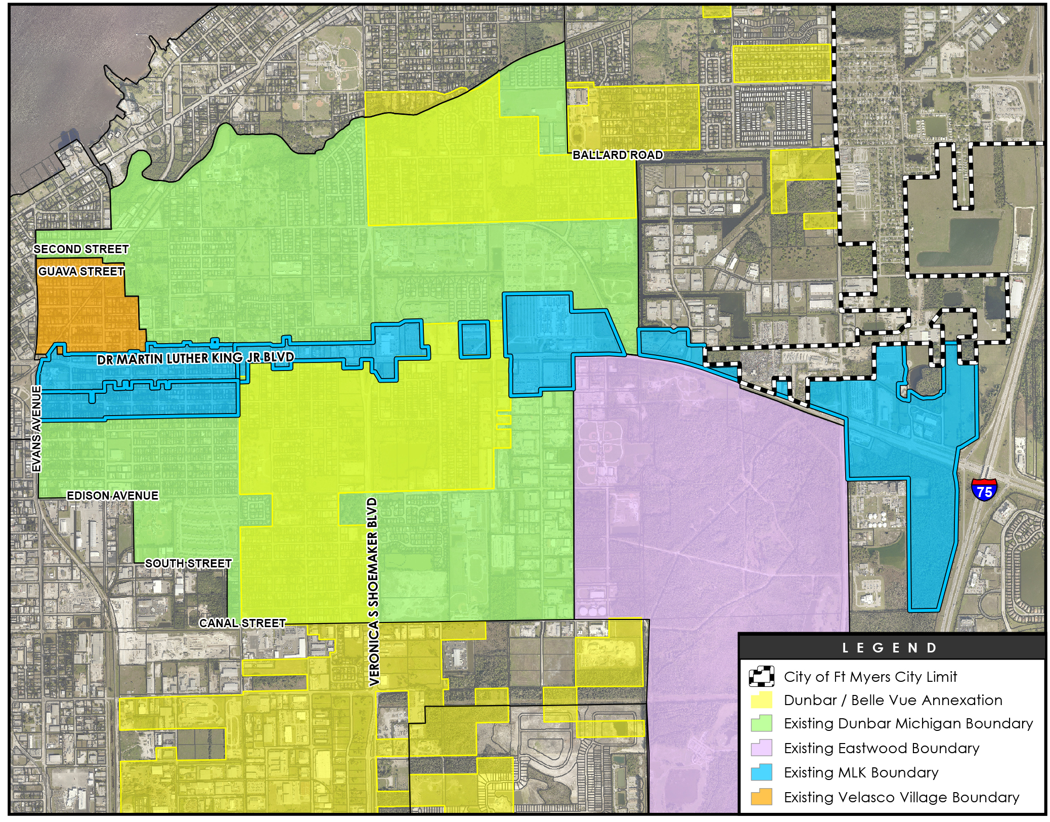 Several redevelopment areas exist within the general MLK/Dunbar/Michigan area.  There has also been significant annexation from Lee County in 2003 to enable the city to plan for redevelopment.