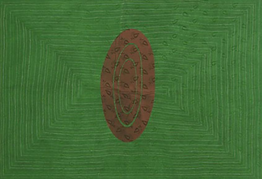 Shezad Dawood - Textile 29 'YTR 2', acrylic on vintage textile, 130 x 190 cm, 2010.jpg