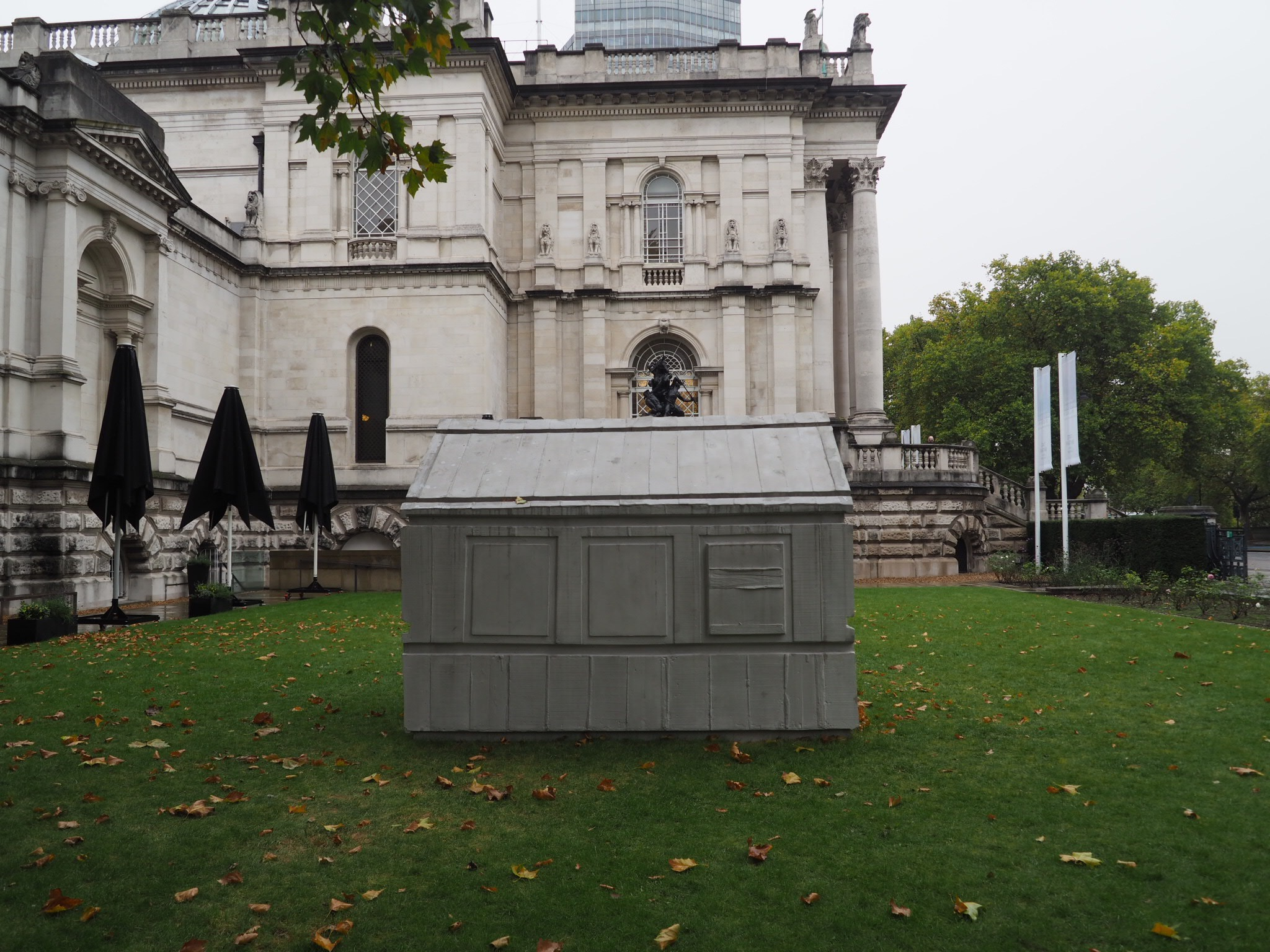 Outside the building, Chicken Shed , 2017, a new concrete piece made especially for Tate Britain