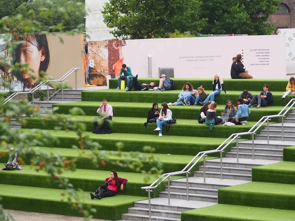 Seating area in front of the Regent's Canal at King's Cross