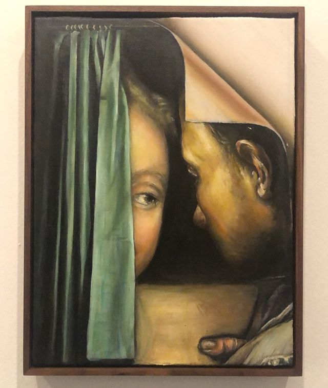 "This one really caught my eye during my last visit in Brussels. ""Thomas Lerooy, Behind the Curtain"" exhibition can be seen until 18.08.  #thomaslerooy #painting #belgianartist #brusselsmuseums #regard"