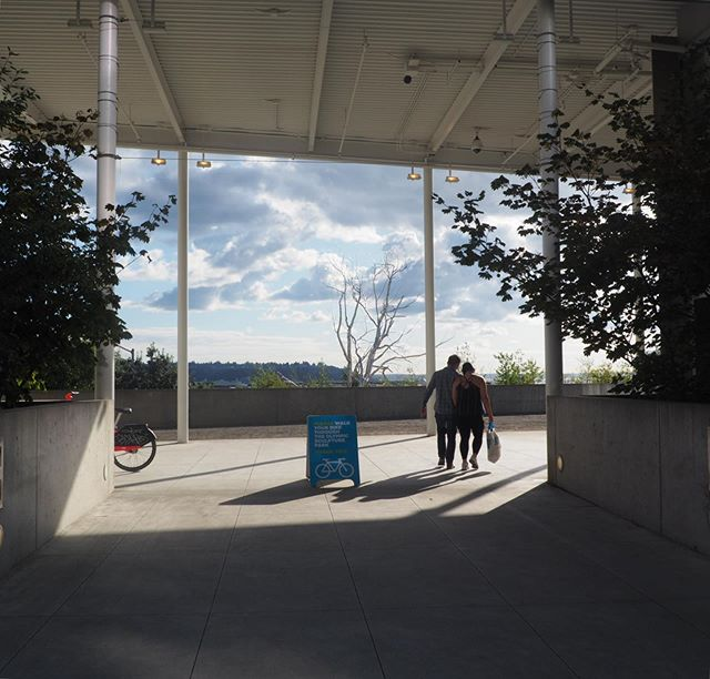 One of the entrance points of Seattle Museum's Sculpture Park with Roxy Paine's sculpture in the background.  #waterfrontregeneration #seattle #roxypaine #sculpturepark #light #placemaking #publicart