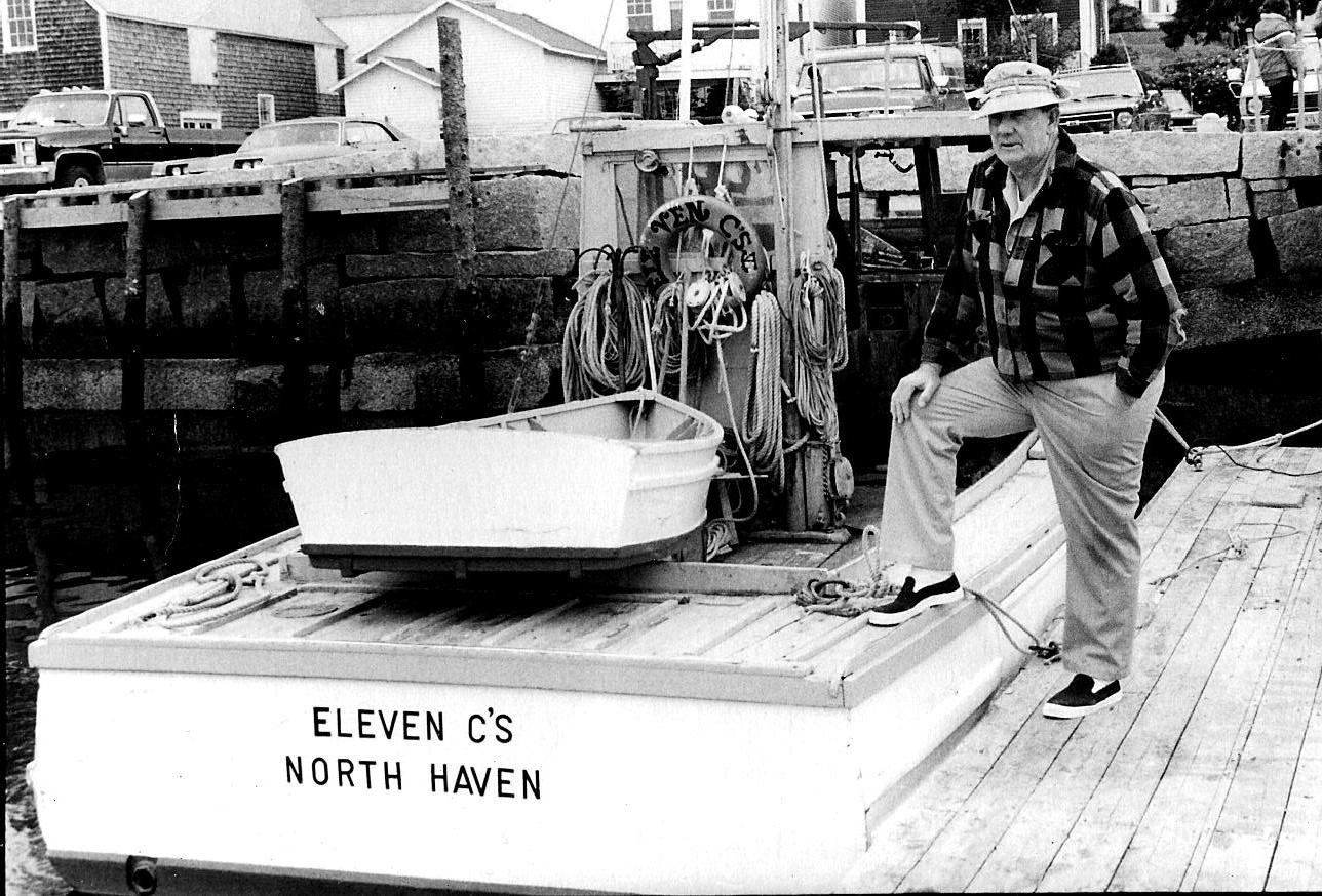 Kate's father, Sherman Cooper, with his lobster boat