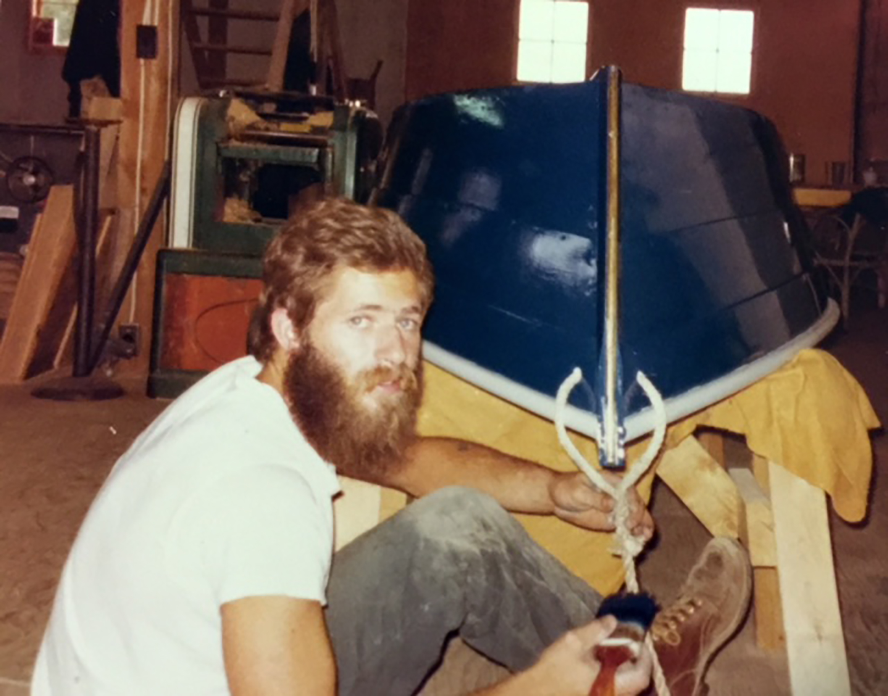 Charlie in his boat shop
