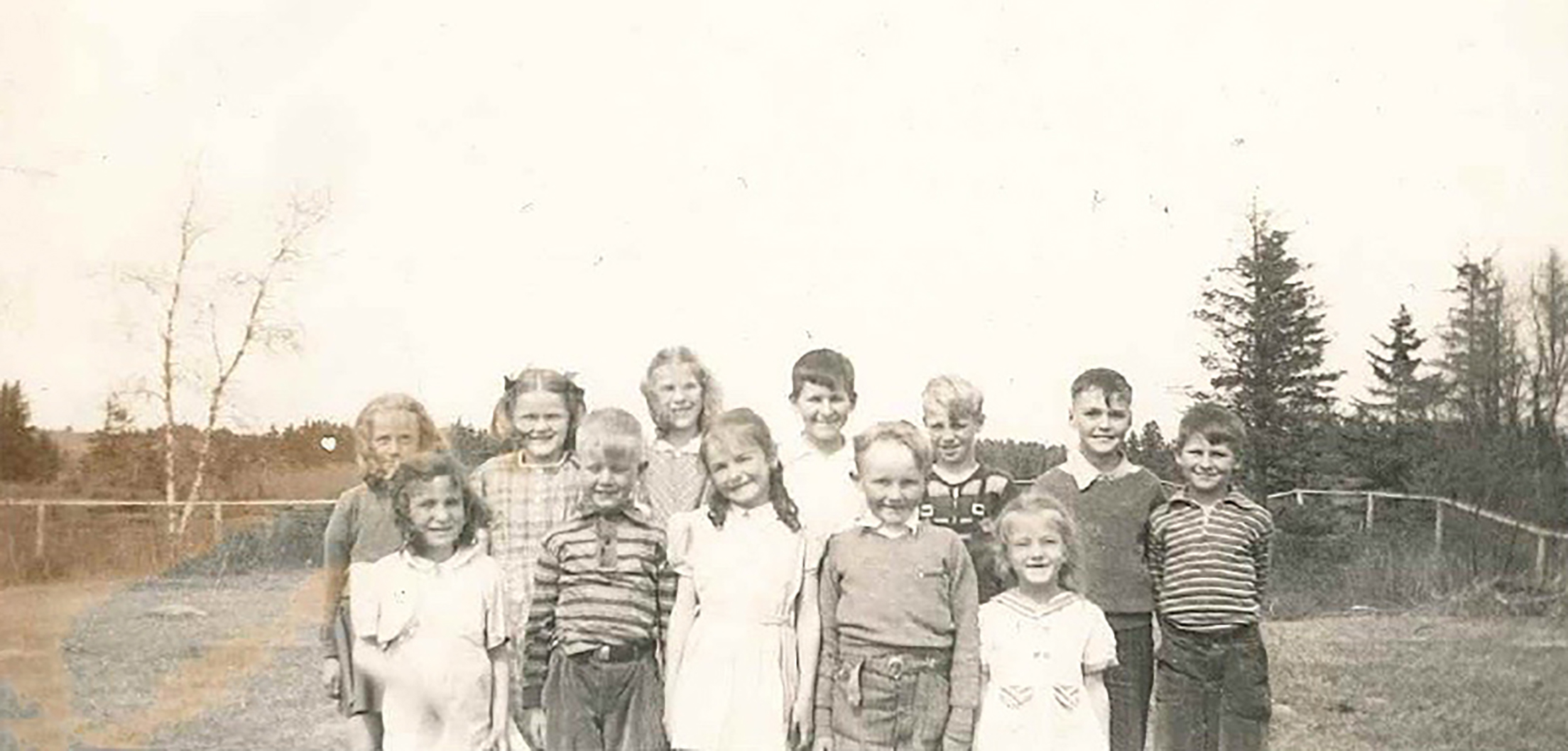 Betty (front row, right) with the lower school in 1941