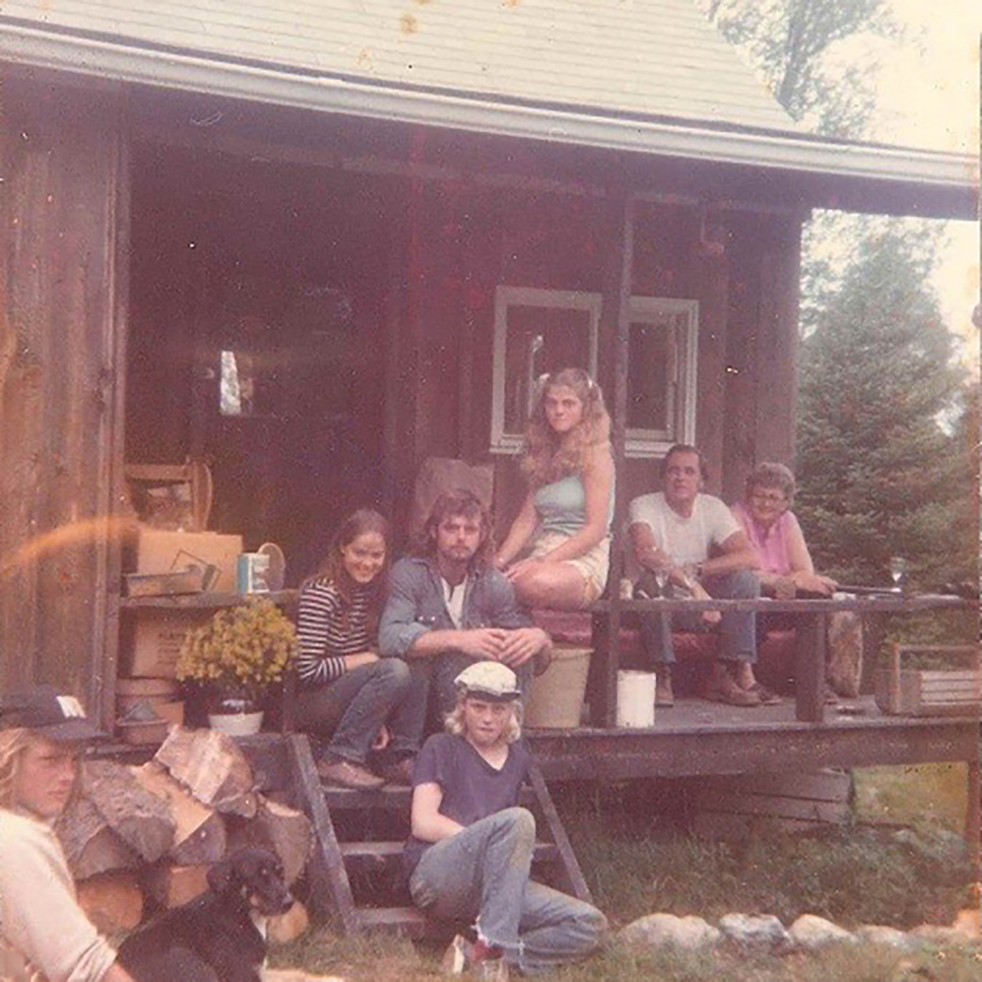 Nancy with her brothers and cousins at the Gillis cabin