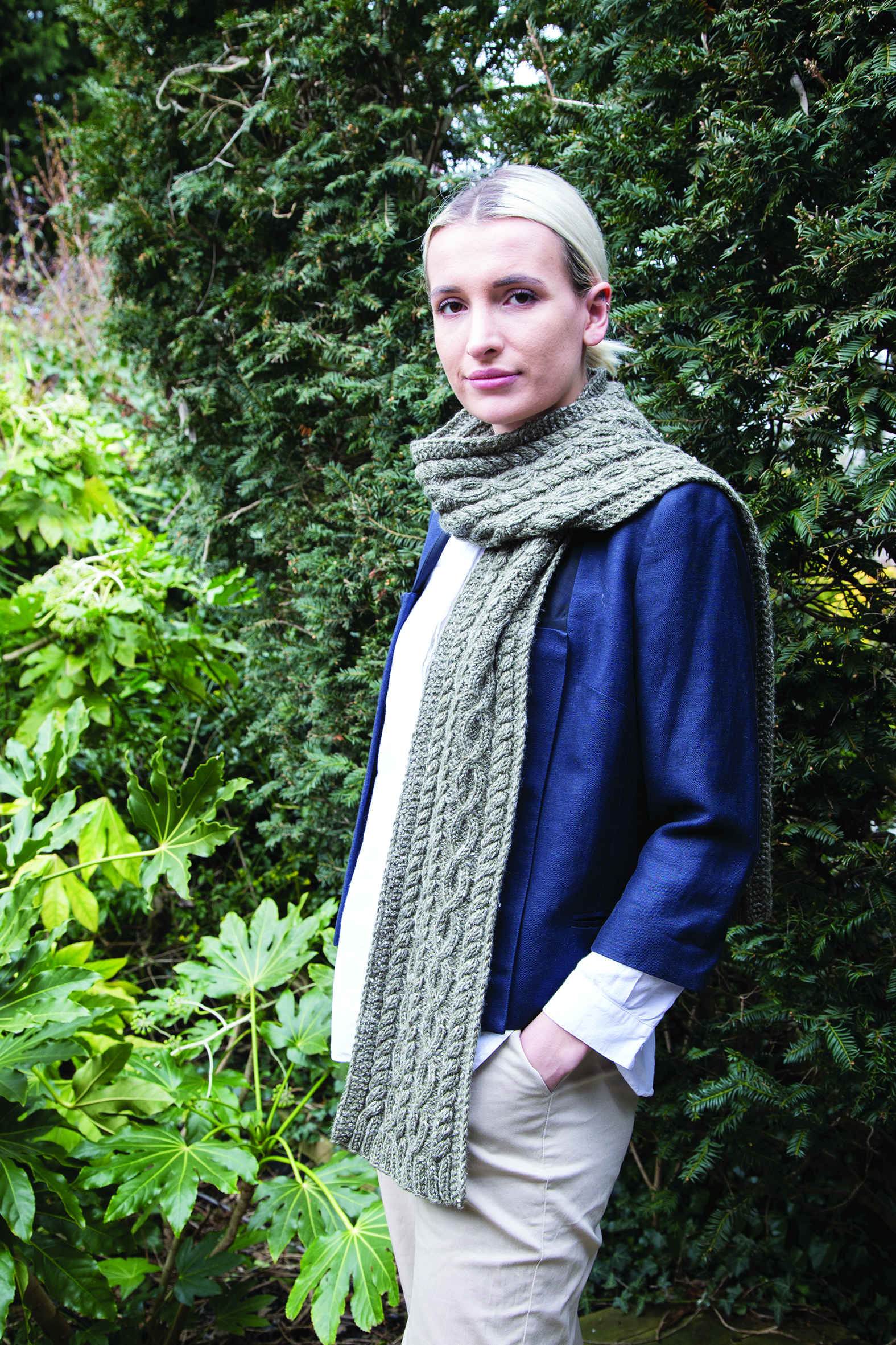 A scarf shot from    Learn to Knit Arans  .
