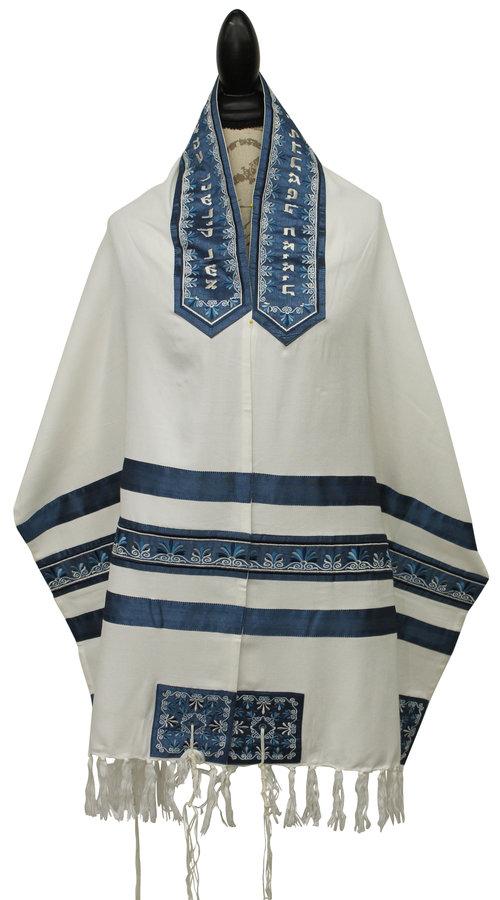 White / Blue Embroidered Stripes - Tallit Set — Afikomen Judaica