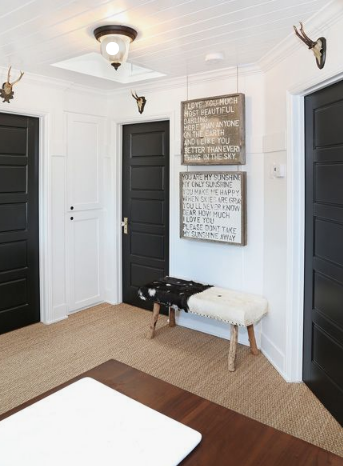 Inspiration for the 5-panel doors that we will be installing. Should we paint them black?! Pop over to our  Instagram  and give us some feedback! Found on Pinterest  here .