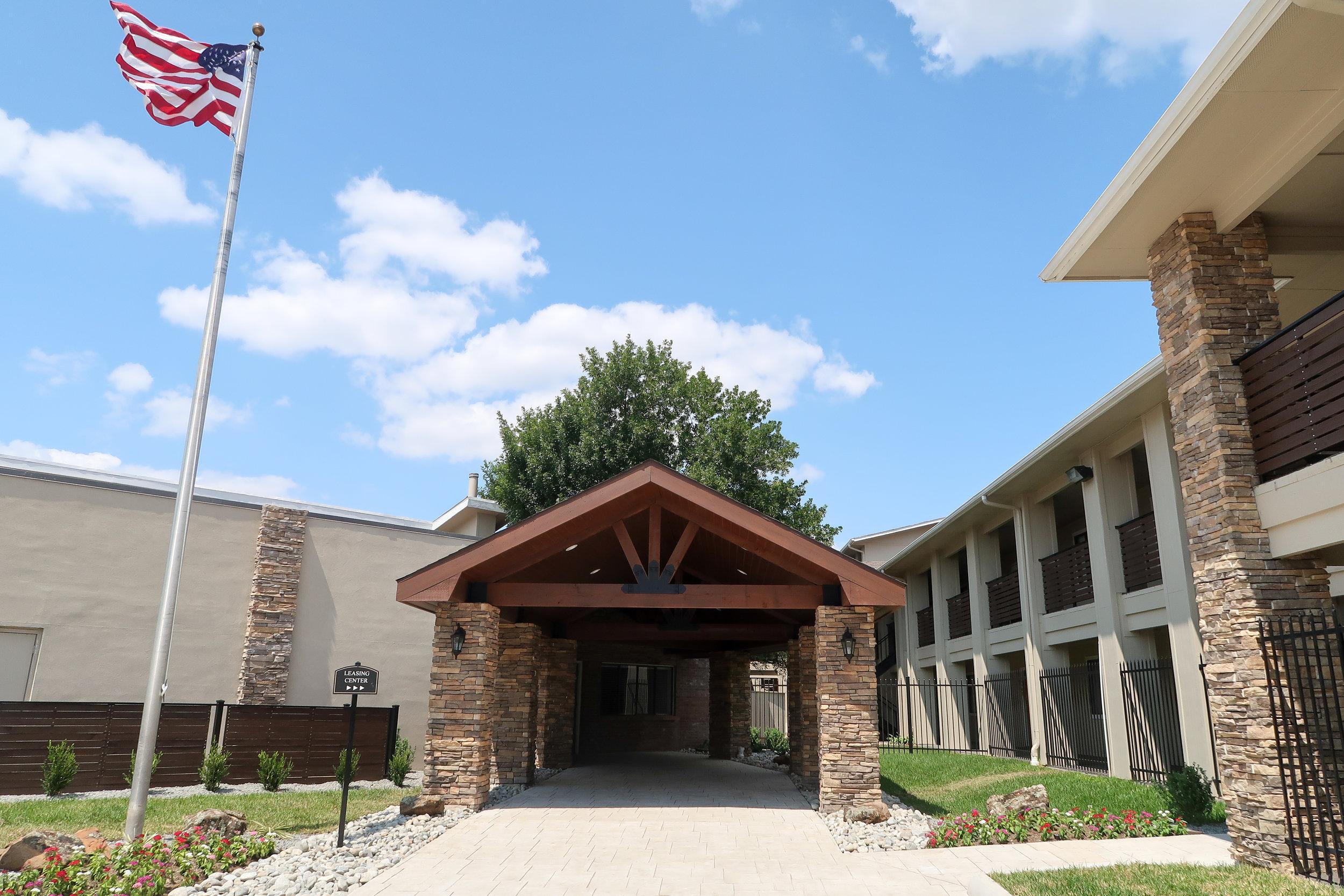 Montclair Estates Garland Texas Front Entrance with Flag