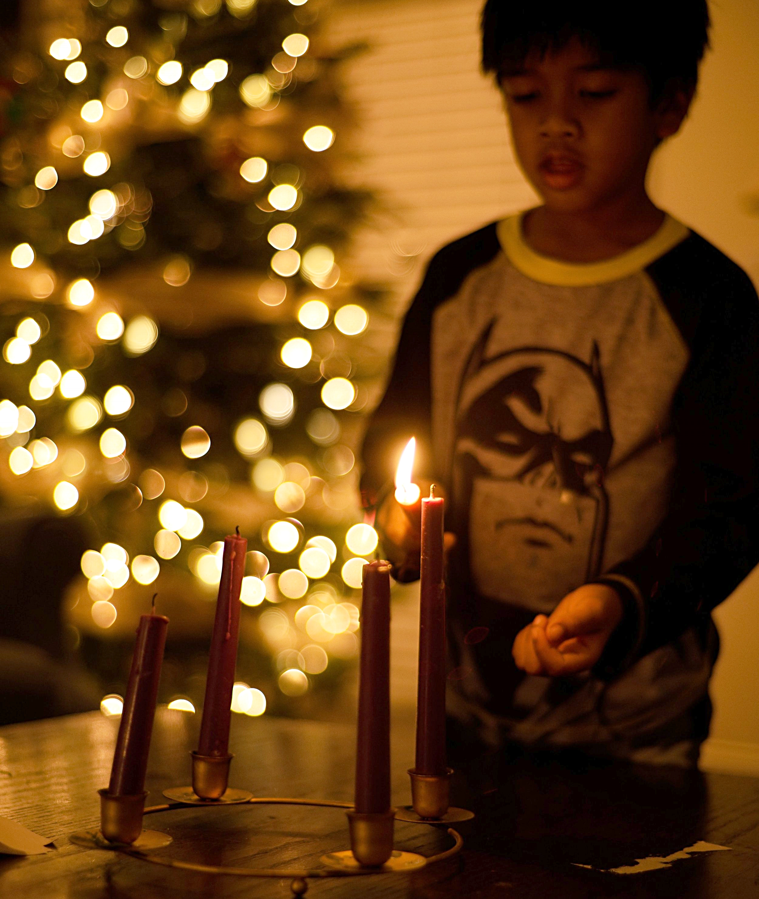 My son lighting our VERY SIMPLE advent wreath.