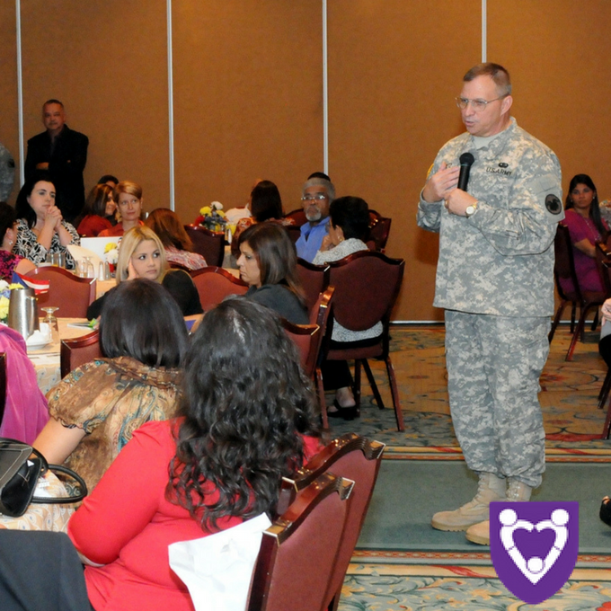 Lt. Gen. Jack C. Stultz, chief of the Army Reserve, calls on military spouses to become partners in helping the Army Reserve ensure a smooth reintegration. U.S. Army photo by Sgt. 1st Class Alfonso Flores