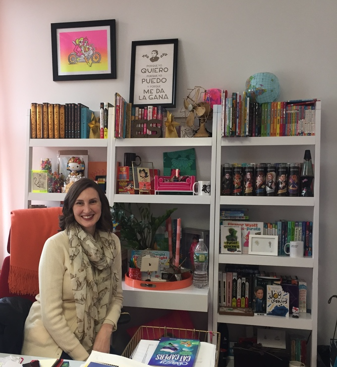 The fabulous Erin Stein. Her office is glorious—a cornucopia of all the best, most fun things.