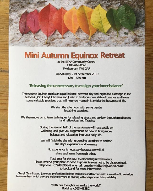 So excited to be hosting this workshop on September 21st at the Etna centre #meditation #reflexology #wellbeing #yoga #equinox #mindfulness #balance #healthyfood