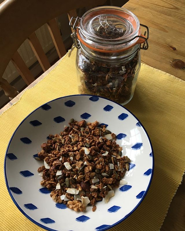 Looking forward to my yummy home made granola breakfast. Recipe invented by my daughter #copper and cloves. I love making my own granola as I can decide how much sugar I put in it. Only natural sugars usually Agave syrup.  #wellbeing #copperandcloves #healthy eating #energy #yoga #fitness #mindfulness