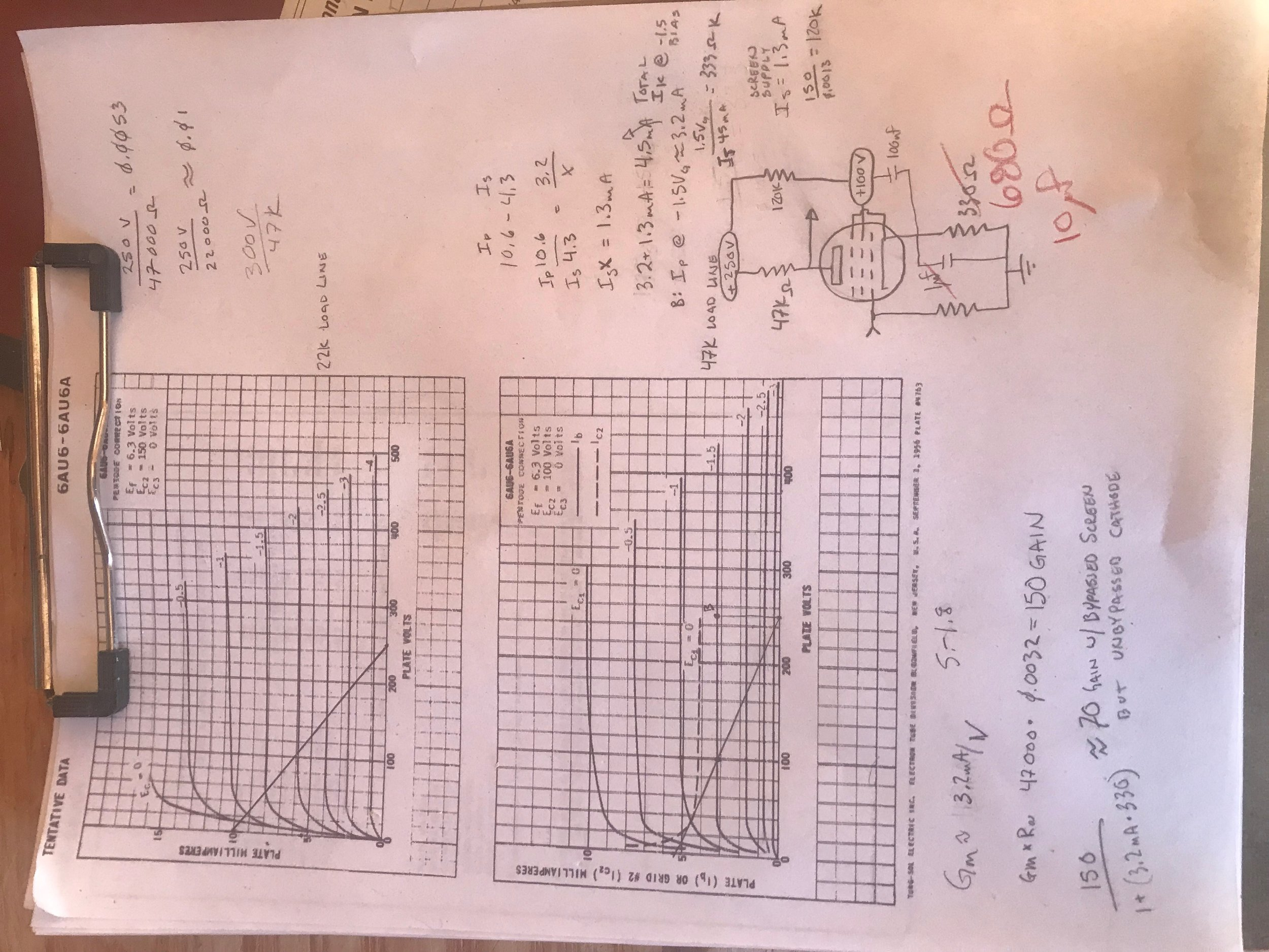 Plotting load lines for the 6AU6A